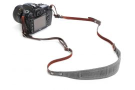 ONA The Lima Waxed Canvas and Leather Camera Strap - Smoke